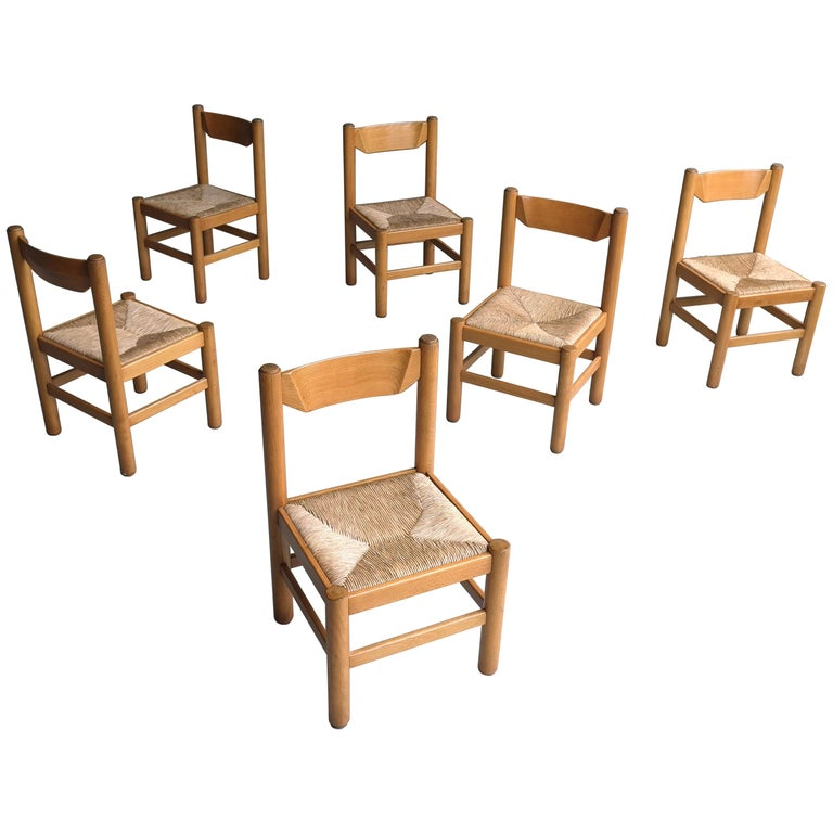 Set of Eight Wood and Rush Chairs in Style of Charlotte Perriand, France, 1960 For Sale
