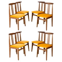 Set of Eight Yellow Chairs, by Zielinski, Europe, 1960s