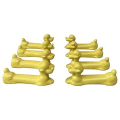 Set of Eight Yellow Majolica Poodle Knife Rests Vallauris, circa 1950
