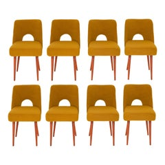 Set of Eight Yellow Ochre Boucle 'Shell' Chairs, 1960s