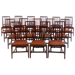 Set of Eighteen Antique English 19th Century Mahogany Square Back Dining Chairs