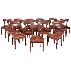 Set of Eighteen English William IV Brown Mahogany and Leather Dining Chairs