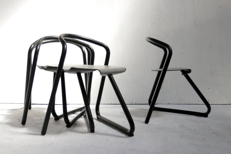 """Very rare large set of eighteen 'Magnus' chairs designed by the famous Danish designer Erik Magnussen. """"To complicate things is simply just foolish"""" The chair was designed for famous design warehouse Paustian based in Copenhagen in 1989."""