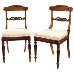 Set of Eleven Regency Rosewood Carved Dining Chairs