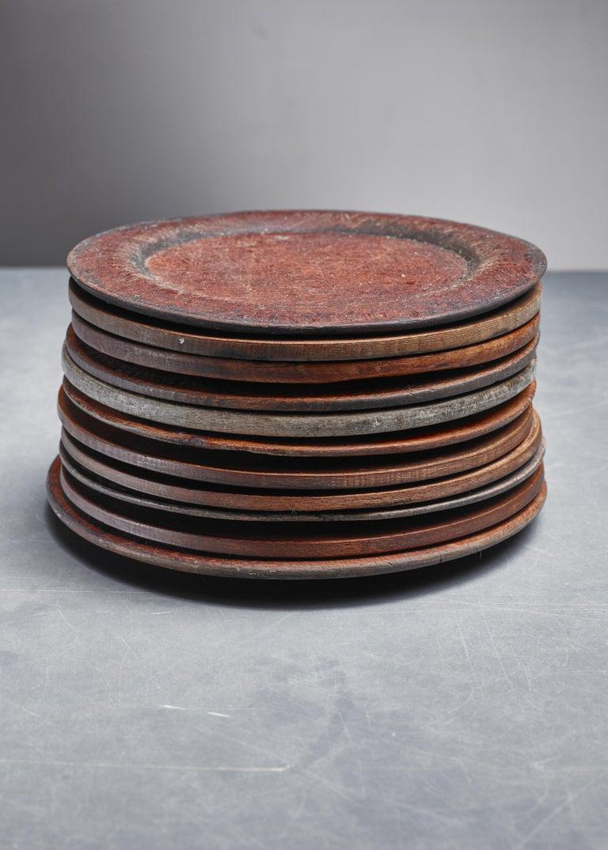 Swedish Set of Eleven Wooden Folk Art Dinner Plates, Sweden, 19th Century For Sale