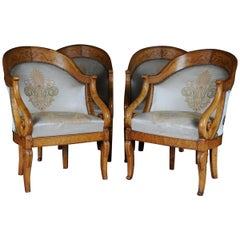 Set of Empire Armchairs / Chairs, Maple Wood, Paris, 1825