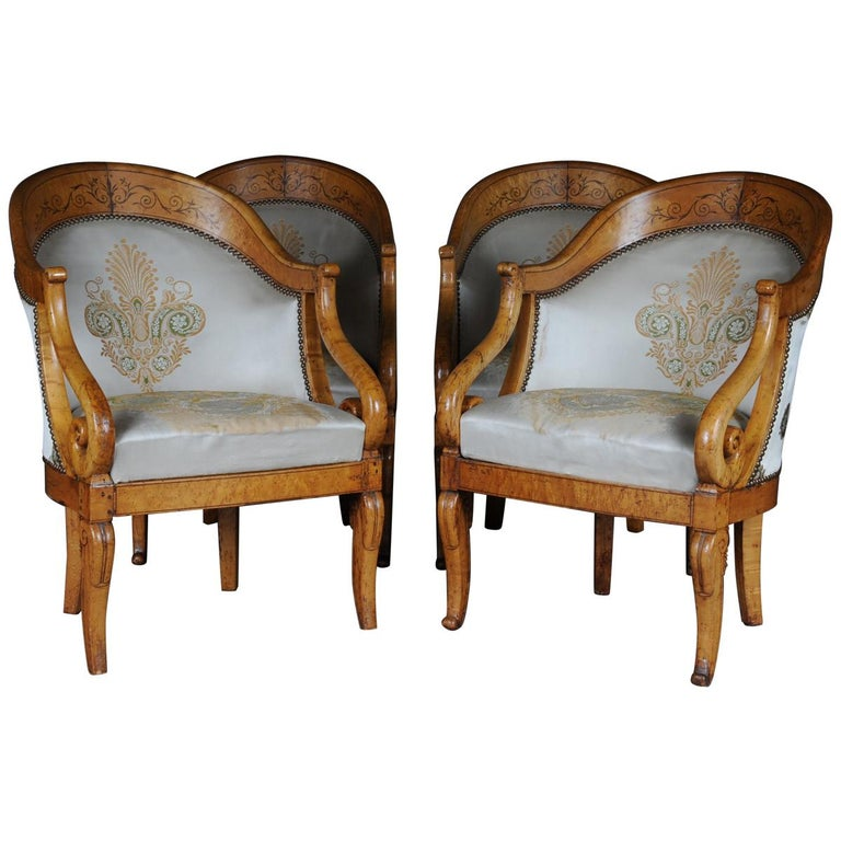 Set Of Empire Armchairs Chairs Maple Wood Paris 1825 Im Angebot