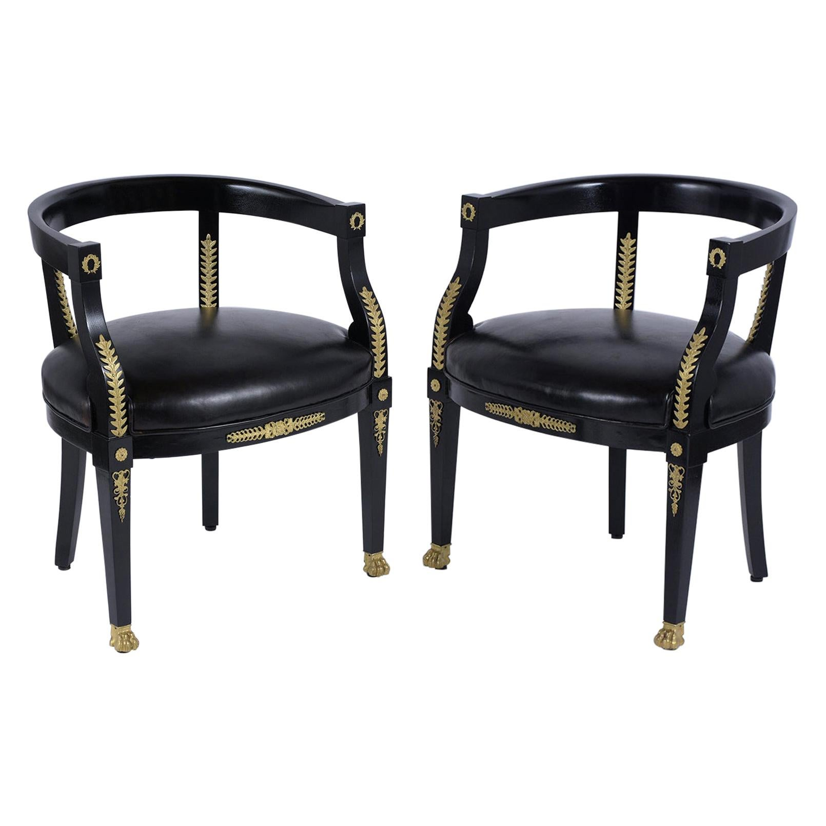 Set of Empire Ebonized Barrel Armchairs