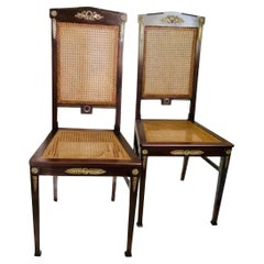 Set of Empire Style Bronze Mounted Cane Chairs
