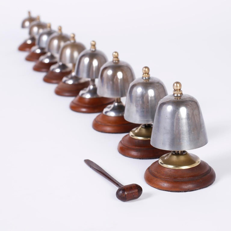Brass Set of English Call Bells For Sale