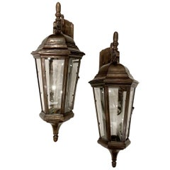 Set of English Cast Bronze Outdoor Wall Lanterns, Sold Per Pair