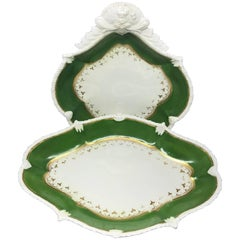 Set of English Green and Gilt Banded Serving Dishes