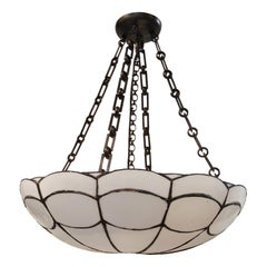 Set of English Leaded Glass Pendant Light Fixtures, Sold Individually