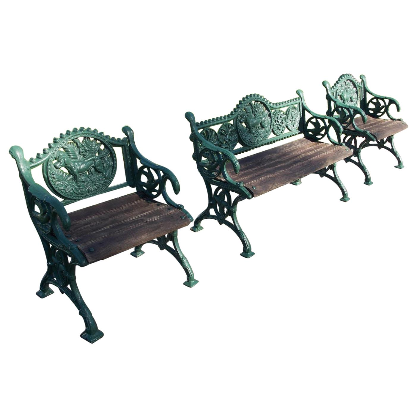 Set of English Regency Cast Iron and Powered Coated Garden Benches, Circa 1830