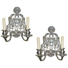 Set of English Silver Plated Sconces, Sold in Pairs