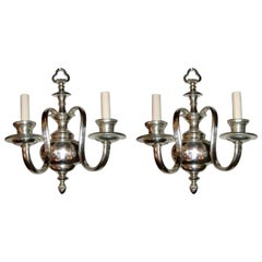 Set of English Silver Plated Sconces, Sold Per Pair