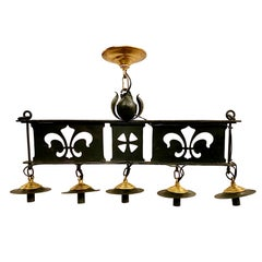 Set of English Wrought Iron Kitchen Pendant Fixtures, Sold Individually