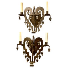 Set of English Wrought Iron Sconces, Sold Per Pair