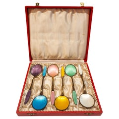 Set of Estate Danish Spoons Sterling Silver with Polychrome Enamel, circa 1930