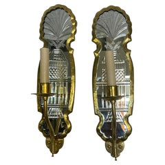 Set of Etched Mirror Sconces, Sold Per Pair