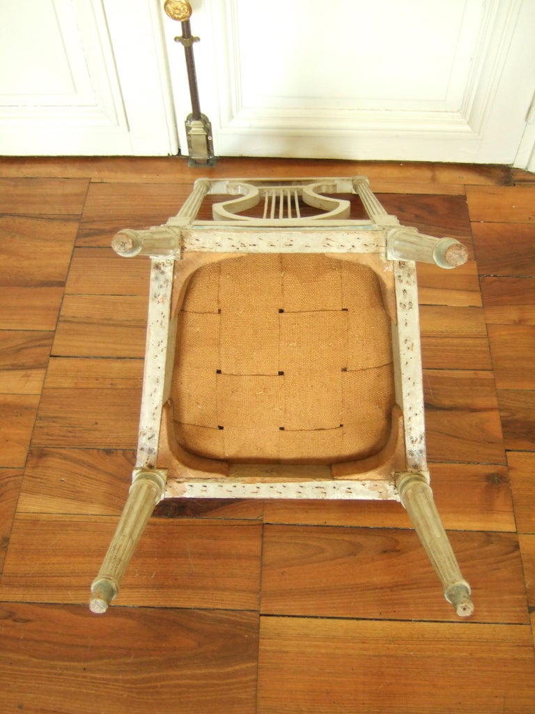 French Set of Original Jacob Model Chairs Lyre of Louis XVI, Late 18th Century, France For Sale