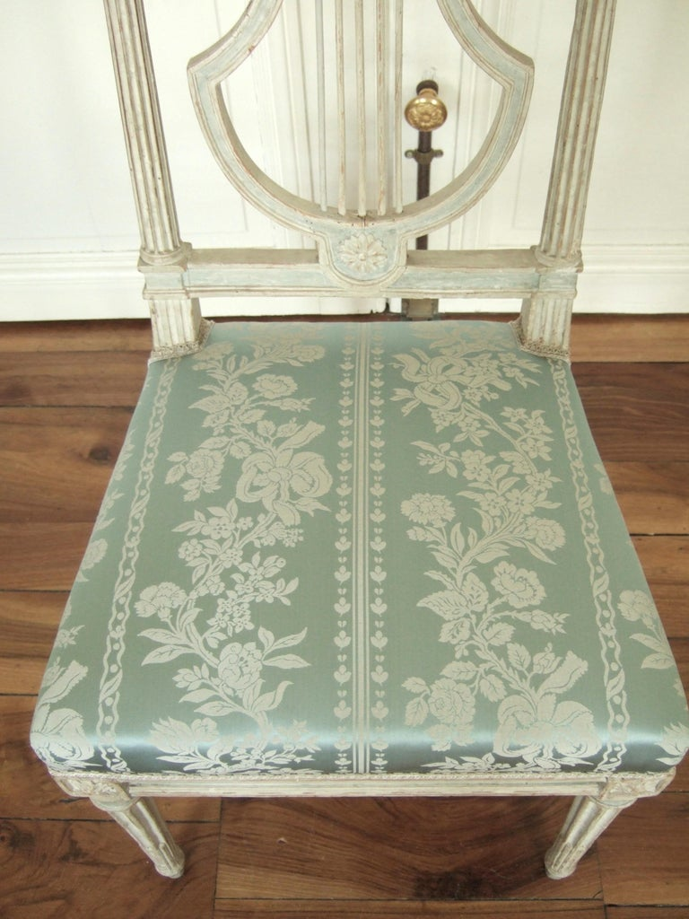 Painted Set of Original Jacob Model Chairs Lyre of Louis XVI, Late 18th Century, France For Sale