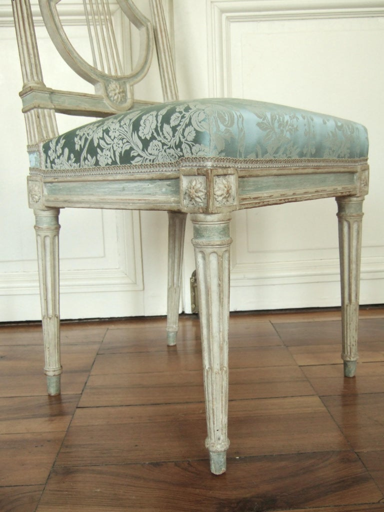 Wood Set of Original Jacob Model Chairs Lyre of Louis XVI, Late 18th Century, France For Sale