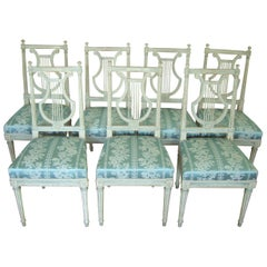 Set of Exceptional & Original Chairs Lyre of Louis XVI, Late 18th Century,France