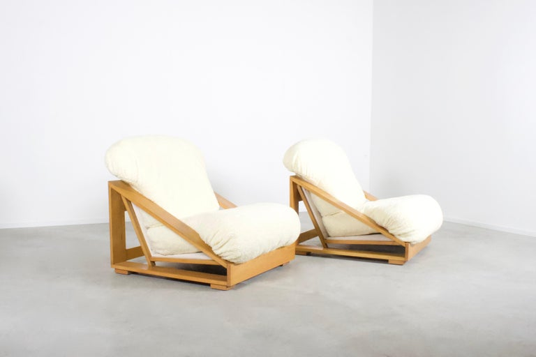 Post-Modern Set of Exceptional Italian Pine and Teddy Fur Lounge Chairs, 1970s For Sale