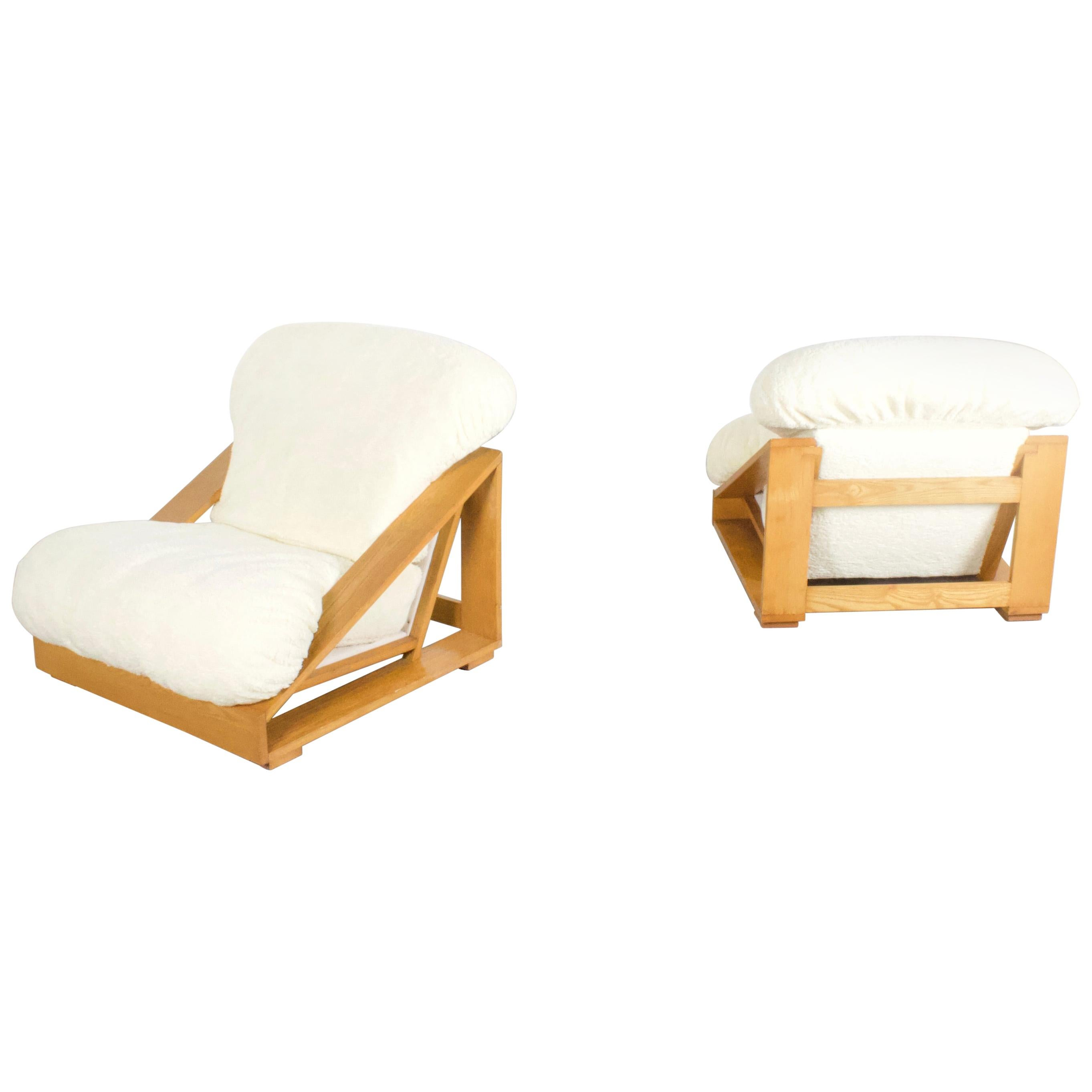Set of Exceptional Italian Pine and Teddy Fur Lounge Chairs, 1970s