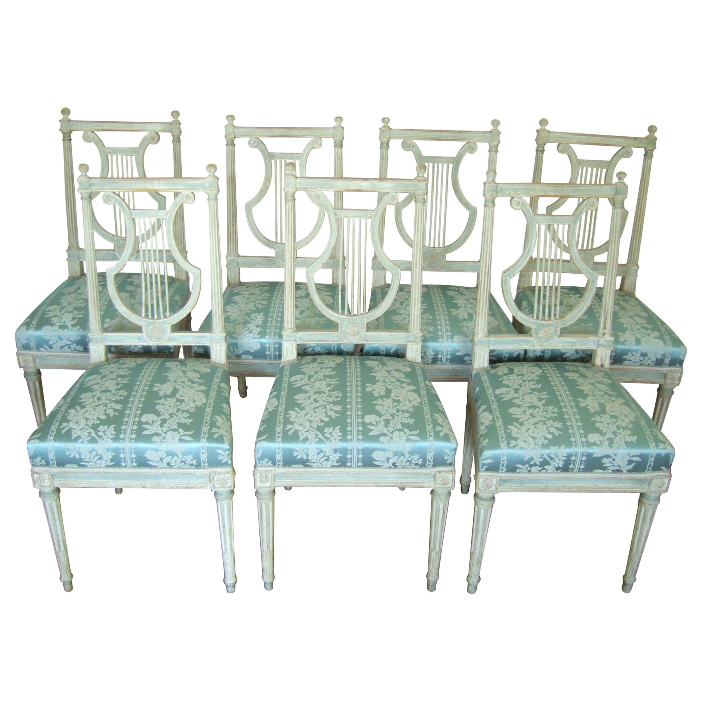 Set of Original Jacob Model Chairs Lyre of Louis XVI, Late 18th Century France