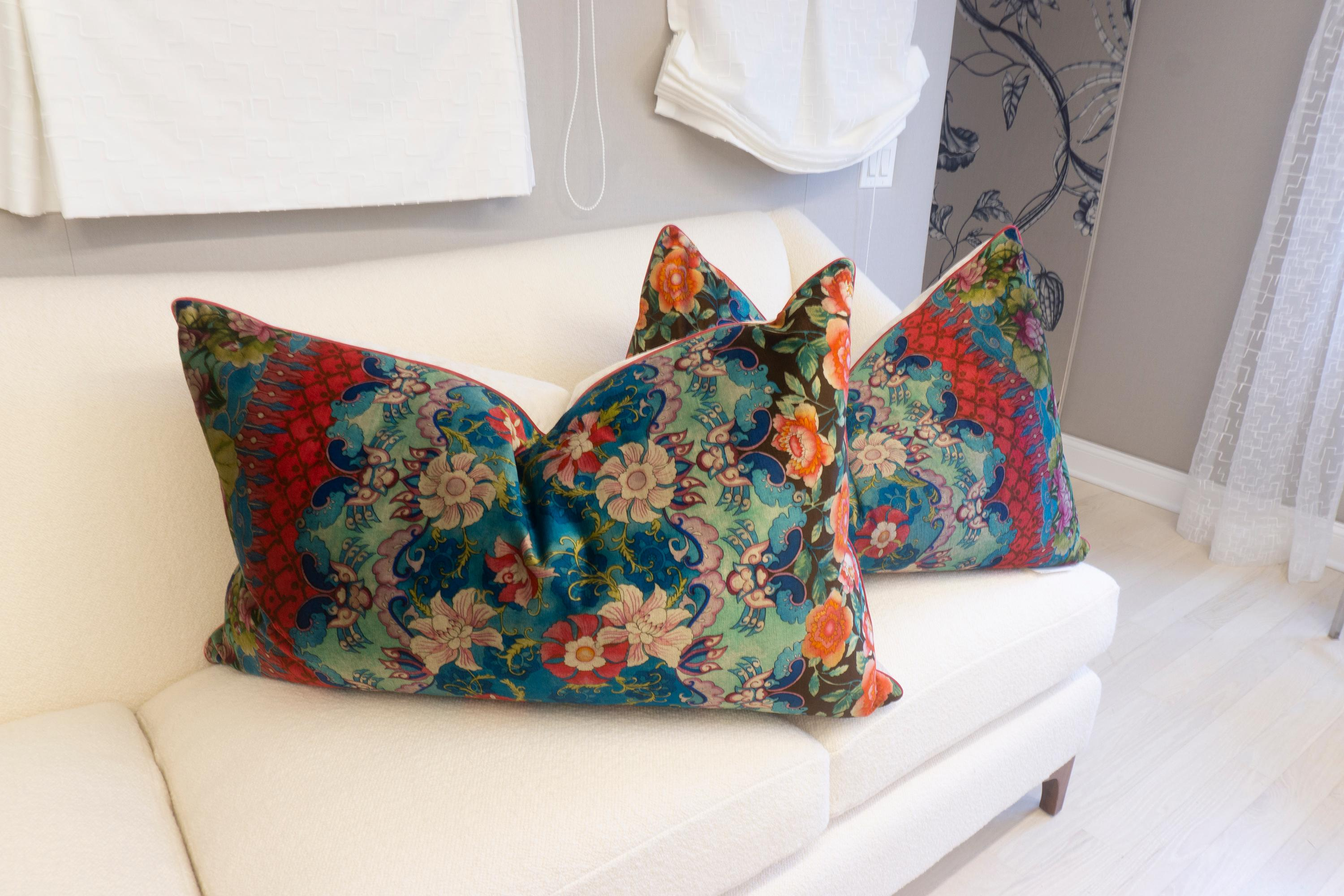 Set Of Extra Large Throw Pillows With Velvet Mediterranean Pattern For Sale At 1stdibs