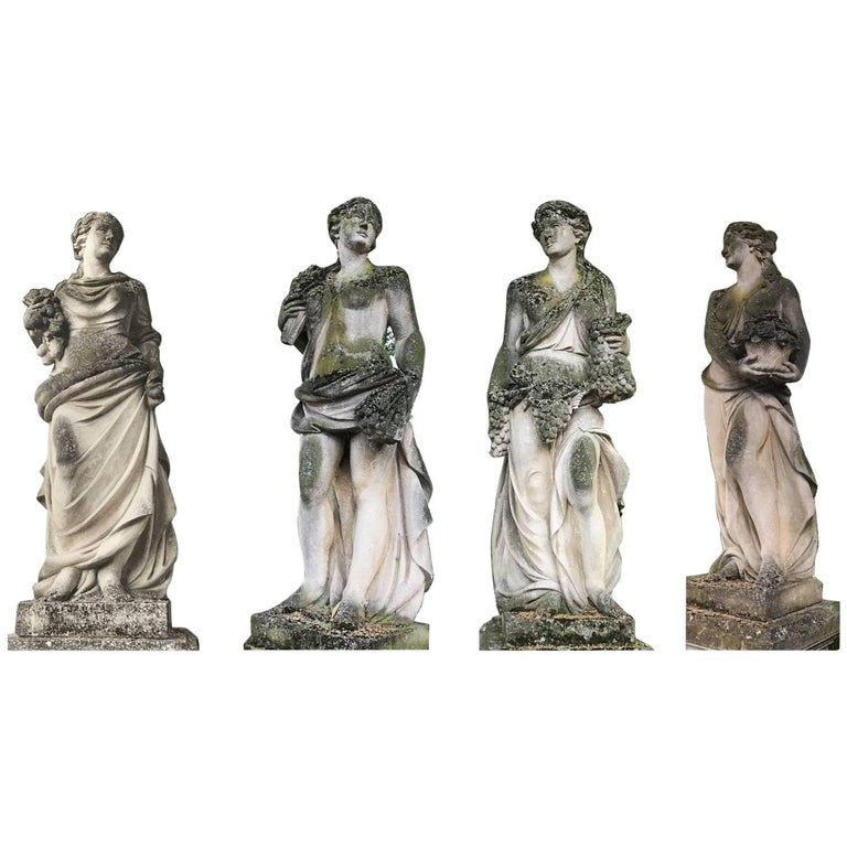 Set of Extraordinary Italian Stone Statues Representing the Four Seasons For Sale