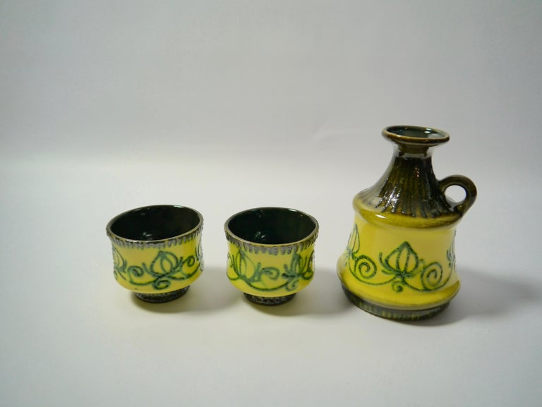 Mid-Century Modern Set of Fat Lava Ceramics by Strehla, East Germany, 1960s For Sale