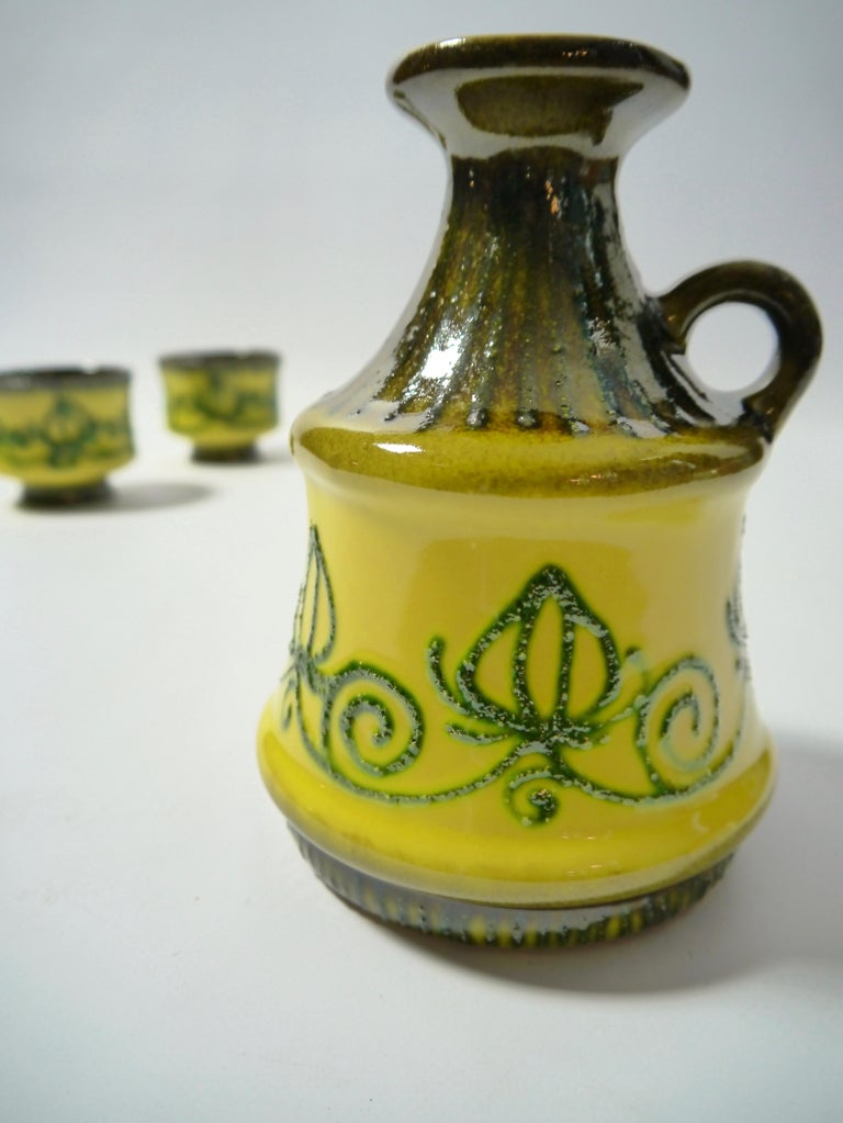 Glazed Set of Fat Lava Ceramics by Strehla, East Germany, 1960s For Sale