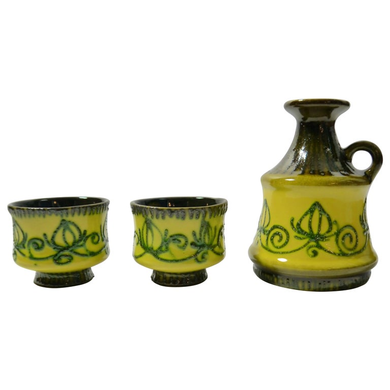Set of Fat Lava Ceramics by Strehla, East Germany, 1960s For Sale
