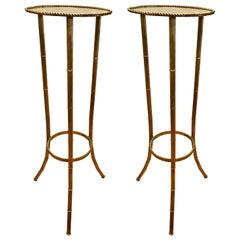 Set of Faux Bamboo Gold Tole Metal Display Plant Stands Pedestals