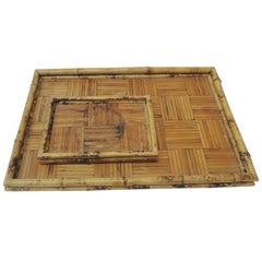 Set of Two Faux Tortoise Bamboo Serving Trays