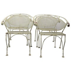 Set of Four Garden Patio Chairs by Woodard