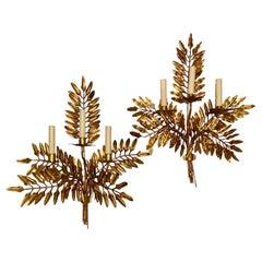 Set of Fern Shaped Gilt Metal Sconces