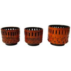Set of Fiery Orange West German Ceramic Flower Pots / Cachepots