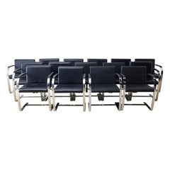 Set of Fifteen Mies van der Rohe Leather Flat Bar Brno Armchairs