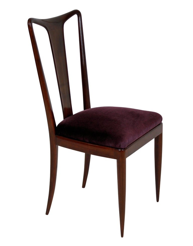 Mid-Century Modern Set of Fine Dining Chairs in the Style of Guglielmo Ulrich