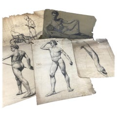 Set of Five 1920s Charcoal Artists Drawings of Nude Male Model
