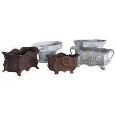 Set of Five 1950s Small French Cast Iron Planters