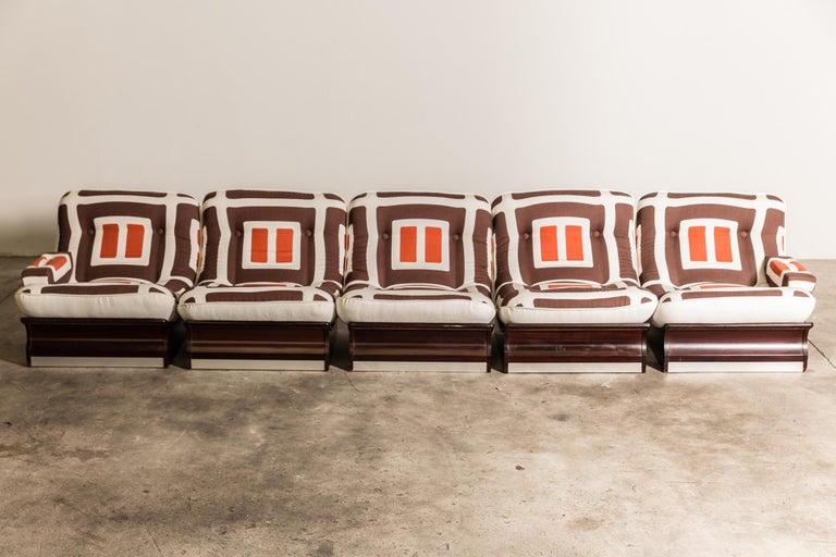 20th Century Set of Five, 1970s Italian Lounge Chairs For Sale