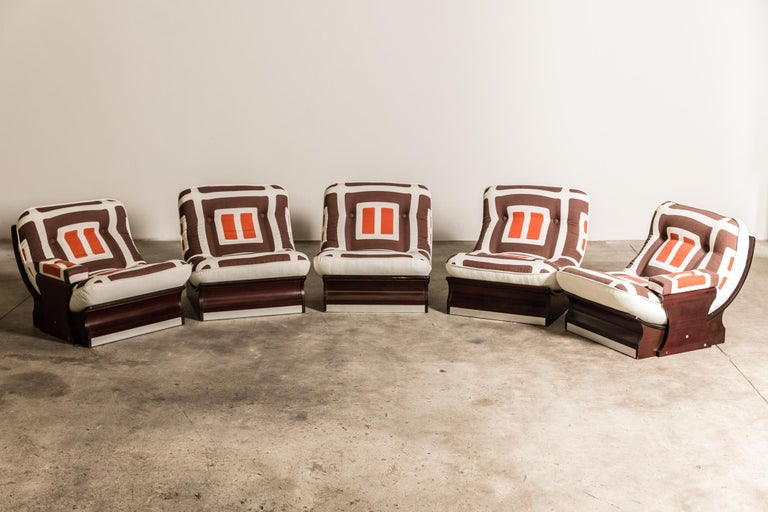 Set of Five, 1970s Italian Lounge Chairs For Sale 1