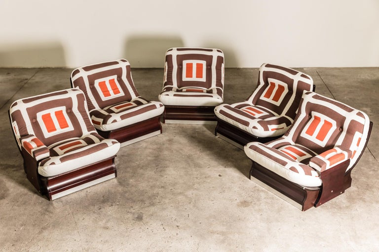 Set of Five, 1970s Italian Lounge Chairs For Sale 3