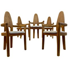 Set of Five 1970s Swedish Solid Pine Dining Chairs