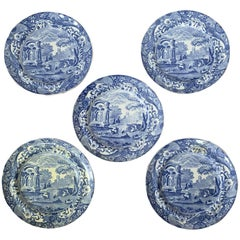 Set of Five 19th Century English Blue and White Copeland Spode Porcelain Plates